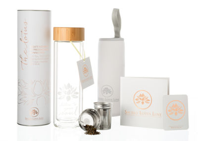 Product and package design: Sacred Lotus Love loose leaf bamboo and glass tea tumbler